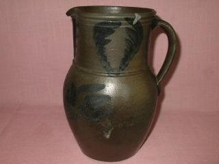 Antique 19th C Stoneware Flower Decorated Small Somerfield Pennsylvania Pitcher 2