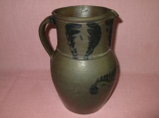 Antique 19th C Stoneware Flower Decorated Small Somerfield Pennsylvania Pitcher 5