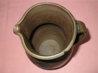 Antique 19th C Stoneware Flower Decorated Small Somerfield Pennsylvania Pitcher 9