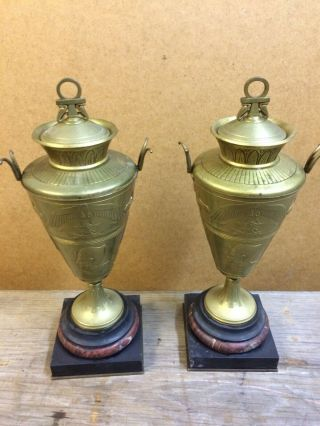 Spectacular Egyptian Marble And Bronze Urns