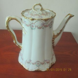 Antique Theodore Haviland Limoges Teapot/coffee Pot With Lid - Patent Applied For