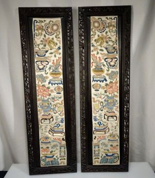 Pair Chinese Silk Embroidered Panels In Carved Wood Frames - 56326