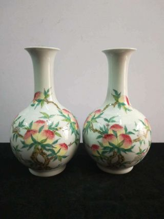 2 X - Chinese Famille Rose Porcelain Peaches Vases Marks Qianlong