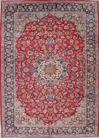Vintage Red Traditional Floral Hand - Knotted Persian Area Rug Oriental Wool 10x13