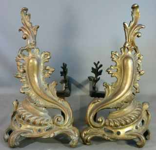 (2) Antique 19thc French Brass Old Louis Xv Style Victorian Fireplace Andirons