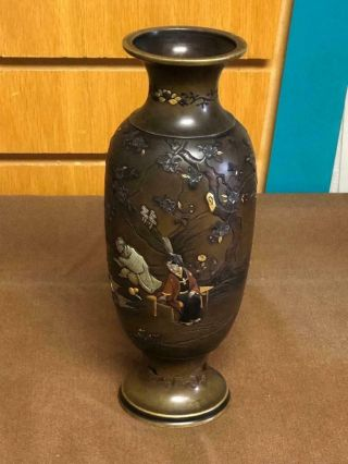 Meiji Period Bronze Mixed Metal Japanese Scene Onlaid Vase By Nozawa Company
