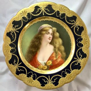 Antique Royal Vienna Porcelain Hand Painted Delina Portrait Plate Signed Fritsch