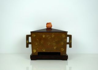 A Gold - Splashed Bronze Censer With Wooden Stand And Cover