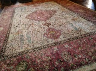 Antique Xlarge J Templeton Axminster Persian Wool Rug Hunting Animals Artnouveau
