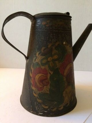 """19 C.  Tole Painted Lighthouse Form Coffee Pot 8 3/4 """" High To Slightly Domed Lid"""