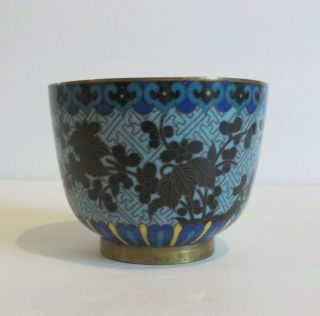 19th C.  Chinese Cloisonne Enamel On Bronze Handleless Cup