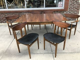 Lane Furniture Co Perception Mid Century Dining Chairs & Table Walnut Set