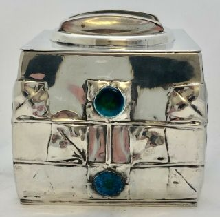 very fine liberty & co enamelled pewter biscuit box by archibald knox 0194 3