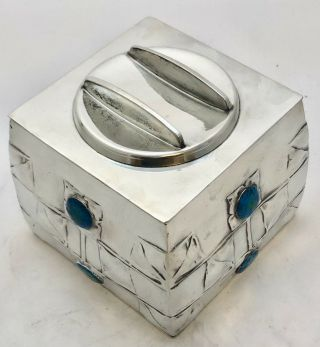very fine liberty & co enamelled pewter biscuit box by archibald knox 0194 9
