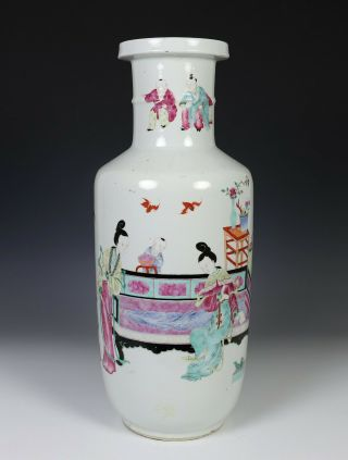 Large Antique Chinese Porcelain Rouleau Vase With Scene Of Figures