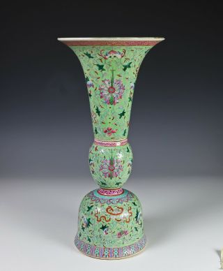 Large Antique Chinese Two Piece Porcelain Lime Green Mantle Vase
