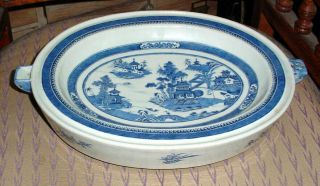 Rare Large Antique Chinese Export Oval Blue & White Canton Warming Platter N/r