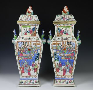 Impressive Antique Chinese Porcelain Covered Vases with Figural Handles 2