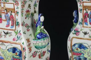 Impressive Antique Chinese Porcelain Covered Vases with Figural Handles 6