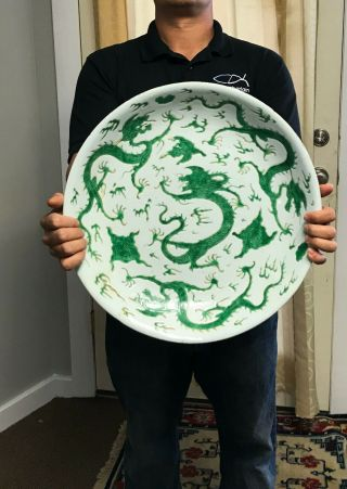 Exceptionally Rare Large Antique Chinese Dragon Deep Dish - Kangxi Mark,  Period 2