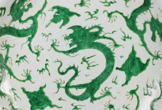 Exceptionally Rare Large Antique Chinese Dragon Deep Dish - Kangxi Mark,  Period 3