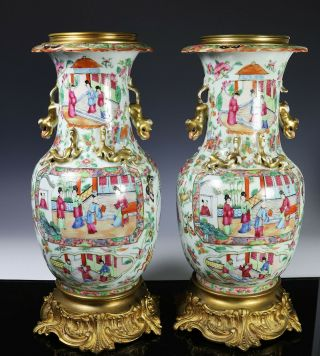 Large Antique Chinese Rose Mandarin Vases with Ormolu Bronze Mounts 2