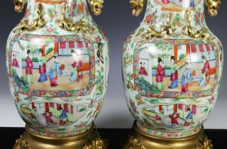 Large Antique Chinese Rose Mandarin Vases with Ormolu Bronze Mounts 4