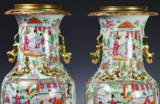 Large Antique Chinese Rose Mandarin Vases with Ormolu Bronze Mounts 5