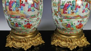 Large Antique Chinese Rose Mandarin Vases with Ormolu Bronze Mounts 6