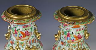 Large Antique Chinese Rose Mandarin Vases with Ormolu Bronze Mounts 7
