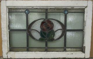 """Old English Leaded Stained Glass Window Transom Bordered Floral 25.  5 """" X 16.  25 """""""
