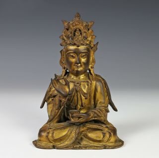 Antique Chinese Gilt Bronze Statue Of Seated Buddha - Ming Dynasty