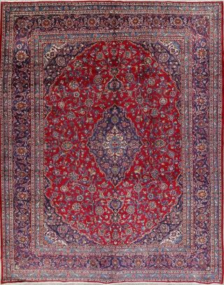 Vintage Traditional Floral Red & Navy Persian Oriental Wool Large Area Rug 10x13