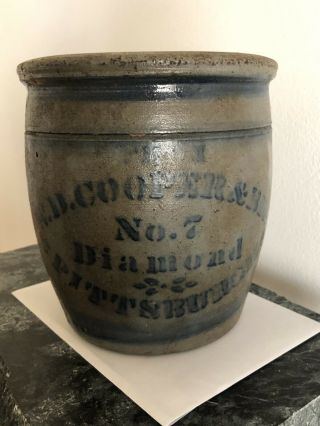 Antique No.  7 Diamond W.  D.  Cooper And Bros Pittsburgh Crock Stoneware Pottery
