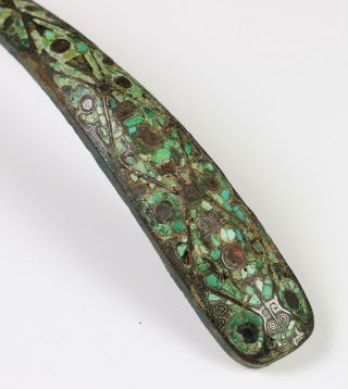 Large Antique Chinese Turquoise Silver Inlaid Bronze Belt Hook - Warring States 2
