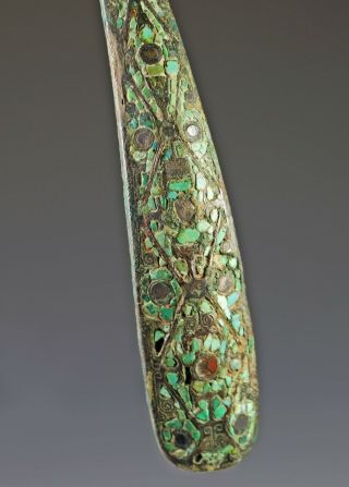 Large Antique Chinese Turquoise Silver Inlaid Bronze Belt Hook - Warring States 6