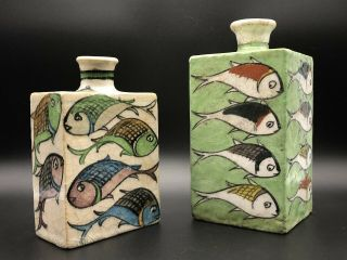 Very Rare Antique Square Japanese Sake Bottles With Hand Painted Fish