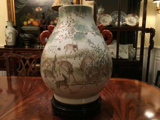 A Large and Important Qing Dynasty 100 Deer Famille Rose Zun Vase,  Marked. 12