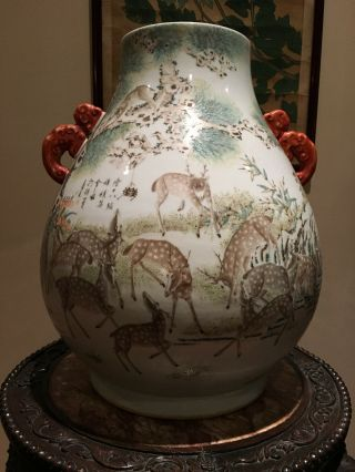 A Large And Important Qing Dynasty 100 Deer Famille Rose Zun Vase,  Marked.