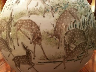A Large and Important Qing Dynasty 100 Deer Famille Rose Zun Vase,  Marked. 3