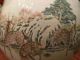 A Large and Important Qing Dynasty 100 Deer Famille Rose Zun Vase,  Marked. 8