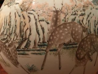 A Large and Important Qing Dynasty 100 Deer Famille Rose Zun Vase,  Marked. 9