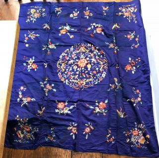 Huge Antique Chinese Silk Hand Embroidered Panel Tapestry Textile