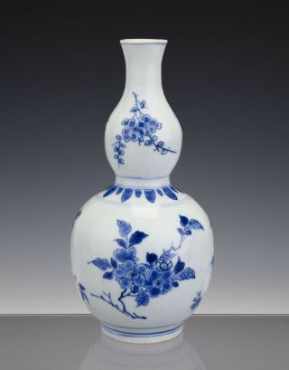 Great Chinese Porcelain Double Gourd Vase B/w Transitional 17th C - Chongzheng
