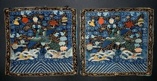 Pair Antique Chinese Rank Badge Square Buzi Mandarin Robe (7)