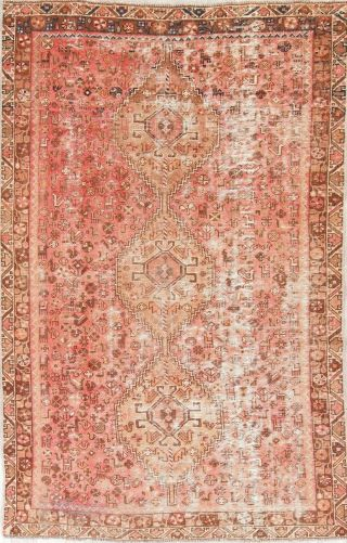 Antique Evenly Worn Old Qashqai Persian Tribal Pink Oriental Wool Area Rug 6