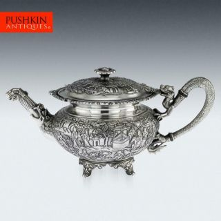Antique 19thc Chinese Export Solid Silver Exceptional Teapot,  Wang Hing C.  1890