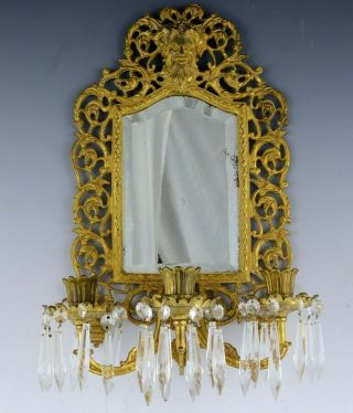 C1880 Gold Gilt Bronze Bacchus Figural Chandelier Candle Wall Sconce
