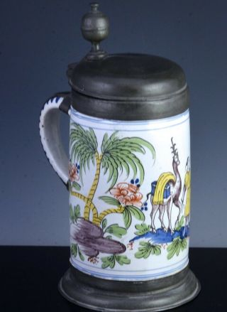 Large 18thc Fayence Majolica Beer Tankard Stein Landscape With Camel Figure