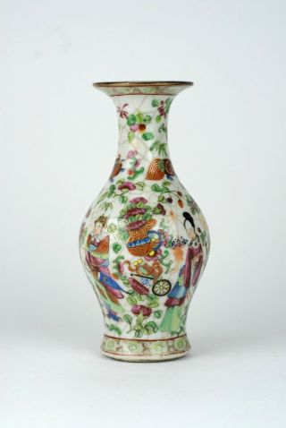A Rare Antique 19thc Chinese Porcelain Canton Famille Rose Crackleware Vase.